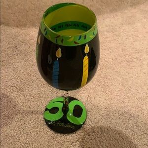 50 and fabulous wine glass never used!